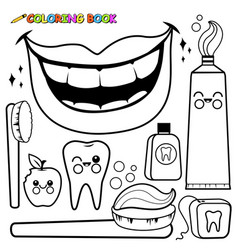 Dental hygiene set vector