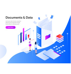 Documents and data isometric concept modern flat vector