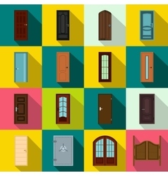 Doors icons set flat style vector image
