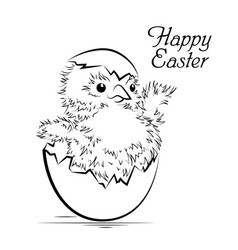 easter card with newborn chicken vector image