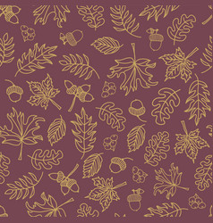 Fall leaves seamless background purple vector