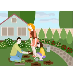 Family planting flowers in the yard of small cute vector