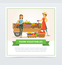 Farm vegetables street shop with farmer and buyer vector