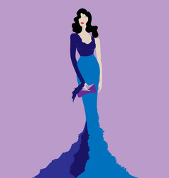 fashion model in blue beauty dress sexy woman vector image