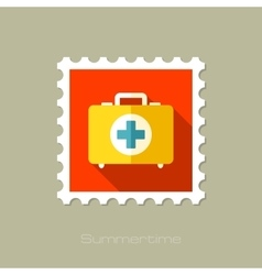 First aid flat stamp with long shadow vector