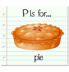 Flashcard letter P is for pie vector