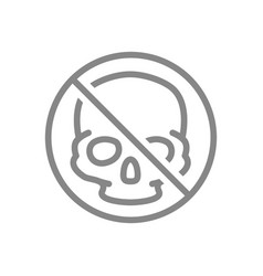 forbidden sign with a human skull line icon vector image