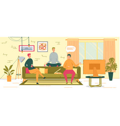 friends eating pizza at home vector image