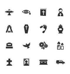 Funeral service icons set vector