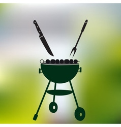 Garden party meat grill with food on abstract vector