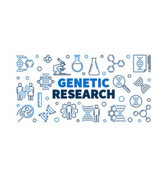Genetic research outline banner or vector