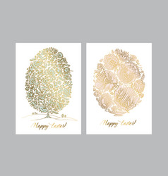 gold easter egg with folk decorative pattern vector image