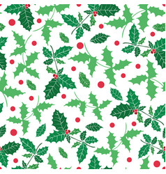 green red holly berry holiday seamless vector image