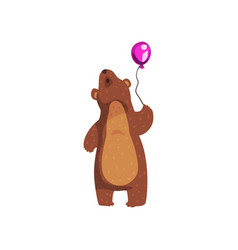 grizzly bear standing with purple glossy balloon vector image