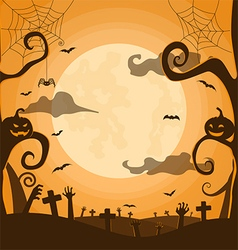 halloween night background in graveyard vector image