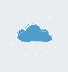 hand drawn cloud icon on white vector image