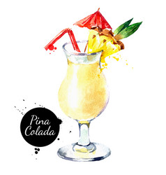 hand drawn sketch watercolor cocktail pina colada vector image