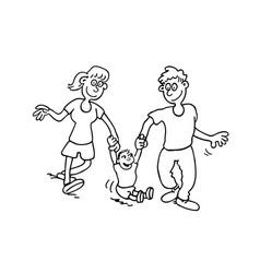 Happy family cartoon outlined cartoon handrawn vector