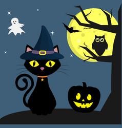 happy halloween the halloween feline witch sits vector image