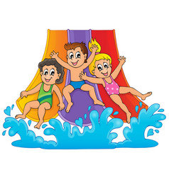 image with aquapark theme 1 vector image