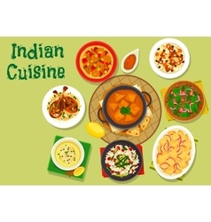 Indian cuisine spicy dinner icon for menu design vector image