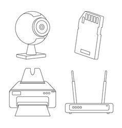 Isolated object of laptop and device icon set of vector