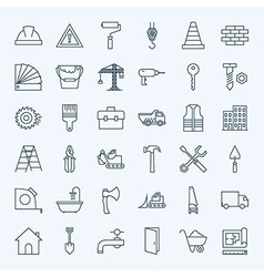 Line Construction Tools Icons Set vector image