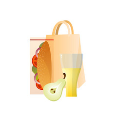 lunch box with healthy food sandwich pear and vector image
