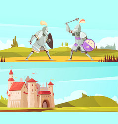 Medieval horizontal cartoon banners set vector