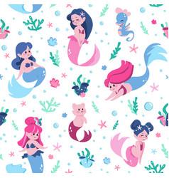 mermaid pattern cartoon funny water nymphs vector image