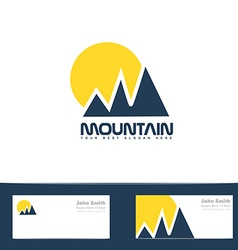 Mountain sun blue yellow logo vector image