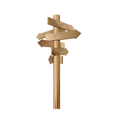 Multidirectional wooden road signpost with arrows vector