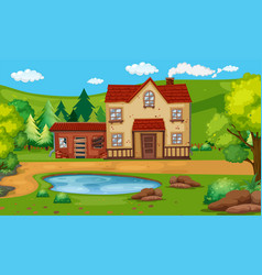 Old house with the pond in the countryside vector