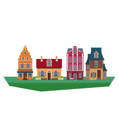 old traditional european vintage houses vector image