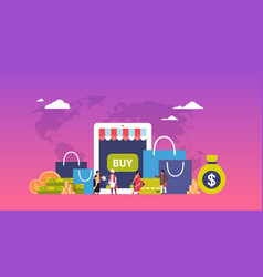 Online shopping concept over paper packages money vector
