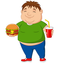 overweight boy holding hamburger and soda drink vector image