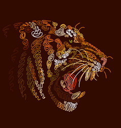 Patterned portrait a tiger on a brown background vector