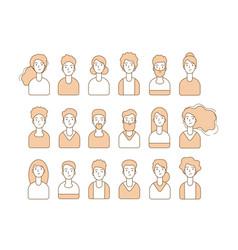 people avatars line person portraits diverse man vector image