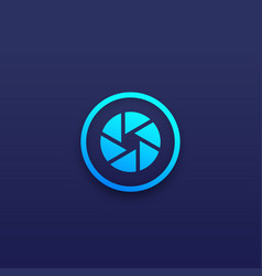 Photo app logo icon with aperture symbol vector