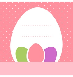 Pink dotted easter background with eggs vector image