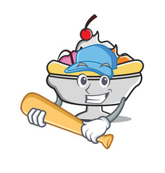 Playing baseball banana split character cartoon vector