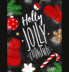 Poster holly jolly christmas chalk vector