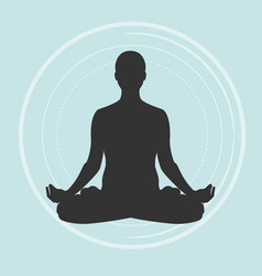practicing yoga meditating vector image