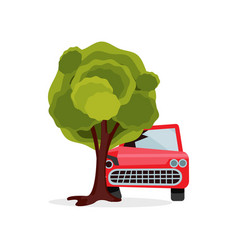 red passenger car crashed into big green tree vector image
