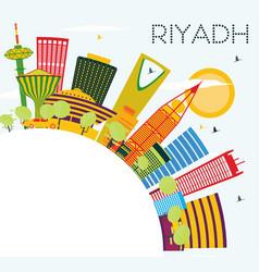 Riyadh skyline with color buildings blue sky and vector