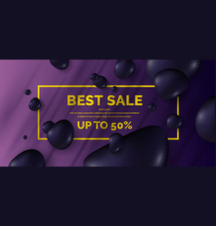 sale poster black drops on a bright background vector image