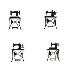 Set collection vintage sewing machine logo vector