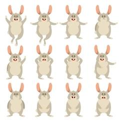 set flat rabbit icons vector image