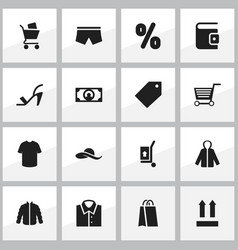 set of 16 editable shopping icons includes vector image