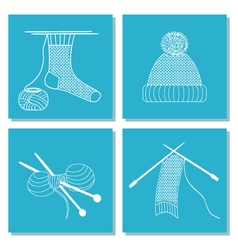 Set of cards with knitting needles sock scarf hat vector image